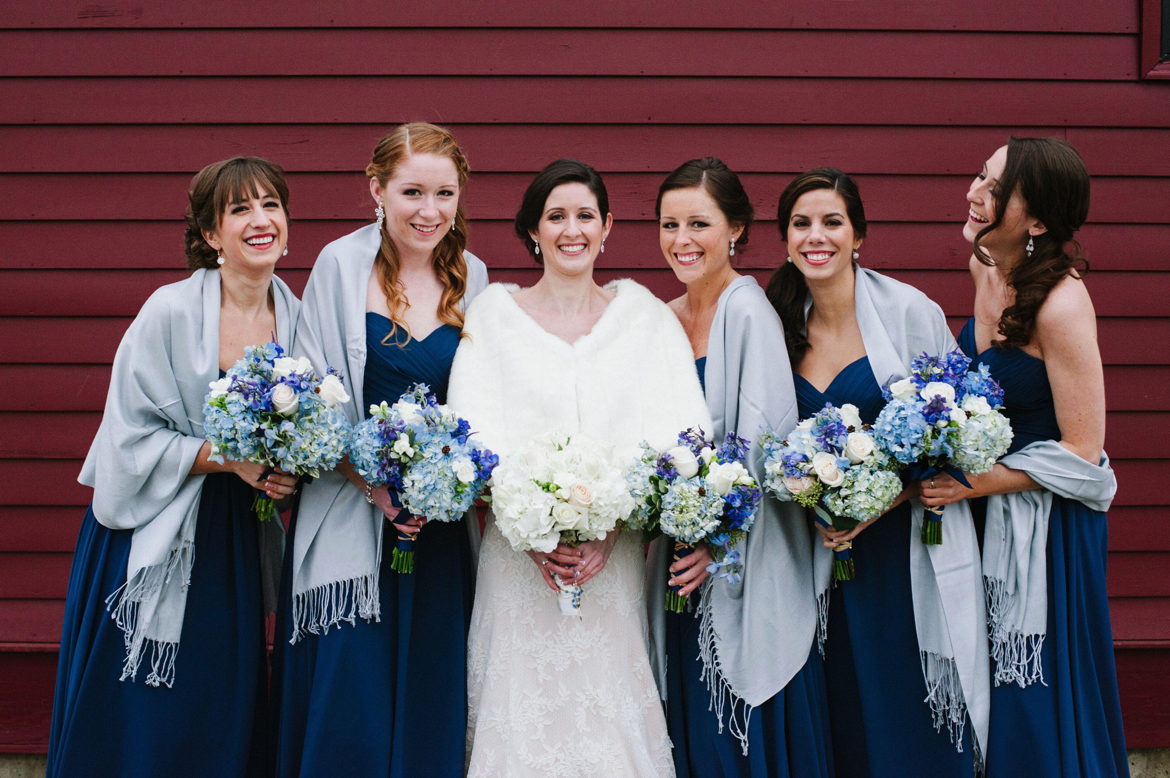 Navy Bridesmaid Dresses With Icy Blue Pashminas