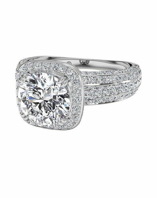 Ritani Masterwork Cushion Halo Triple Diamond Band Engagement Ring in 18kt White Gold (0.75 CTW) Engagement Ring photo