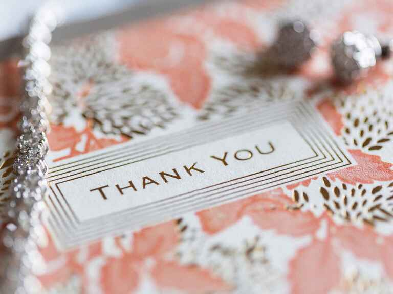 Thank you note and wedding jewelry