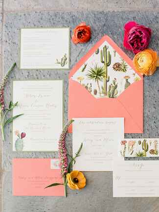 Desert themed wedding invitation suite