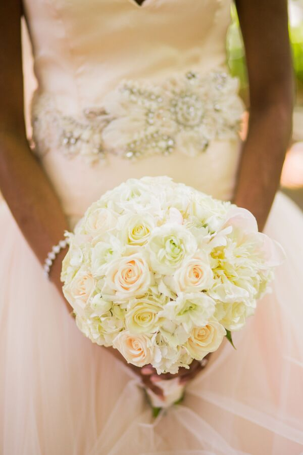 Pink wedding bouquets classic bouquet with peach blush and ivory roses mightylinksfo