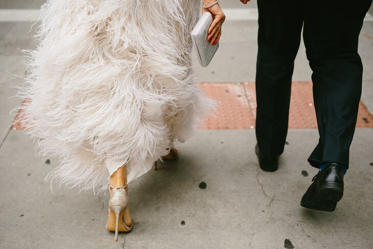 Ivory Feathered Lela Rose Wedding Dress