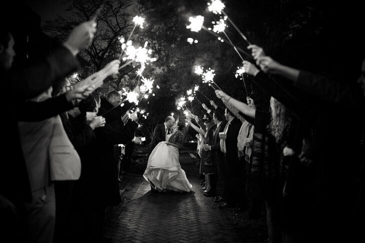 At the end of the evening, the guests gathered in the square outside of The Olde Pink House for a sparkler-lit exit, and the newlyweds rode away in a pedicab.