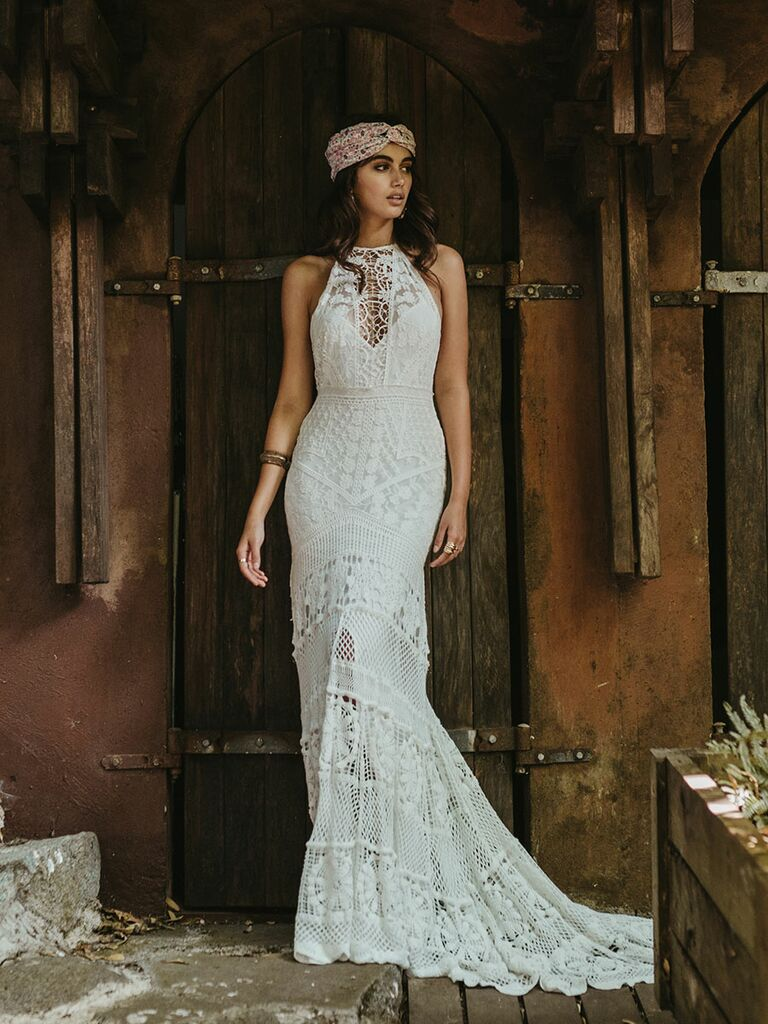 halter neck crochet lace wedding dress