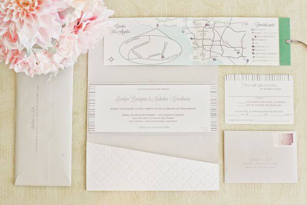 Los Angeles Wedding Invitations: Elegant Orchid Favor Display