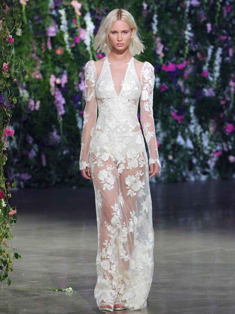 Sheer wedding dress with lace applique