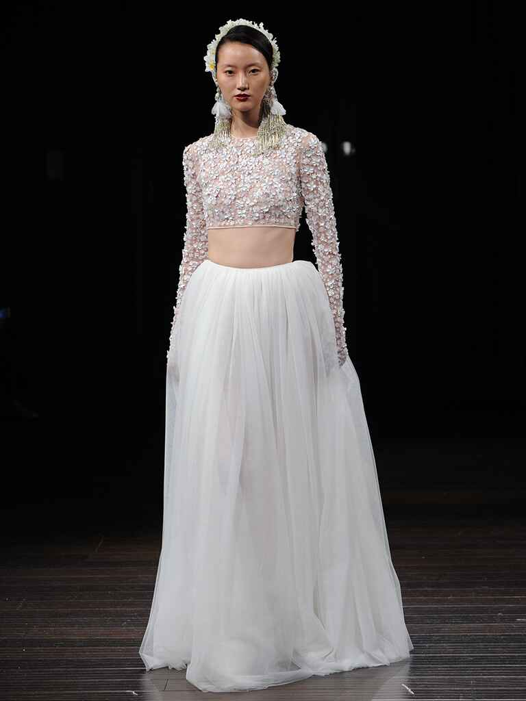 Emebllished crop top wedding dress with tulle skirt