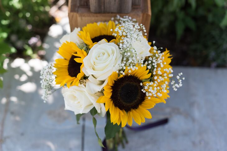 Sunflower and white rose bridal bouquet junglespirit Images