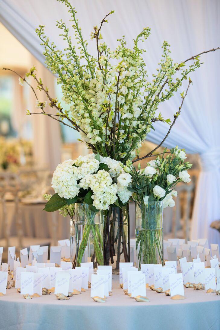 Tall Escort Card Display Floral Arrangement