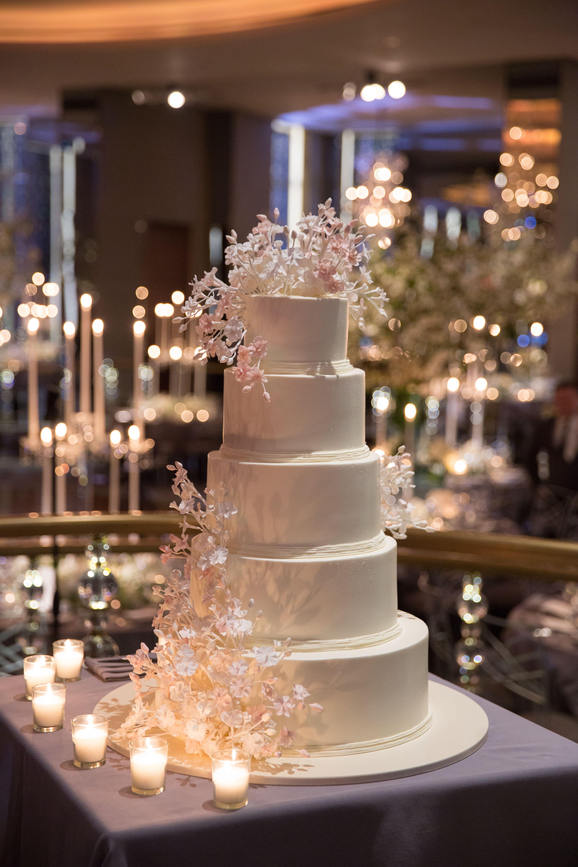 Cherry Blossom Topped Fondant Wedding Cake