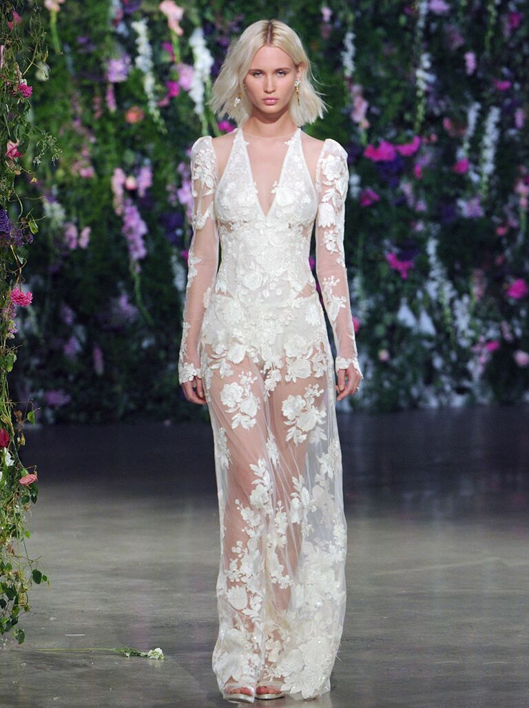 Sexy wedding dresses that rocked the runways watch sheer lace wedding gown ombrellifo Image collections