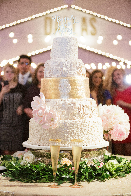 Ivory, Gold Wedding Cake With Blush Sugar Flowers