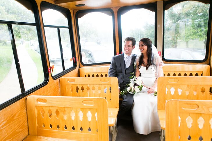 Caitlin and Kevin rode in an iconic trolley from their Spring Lake ceremony to their reception in neighboring Point Pleasant.