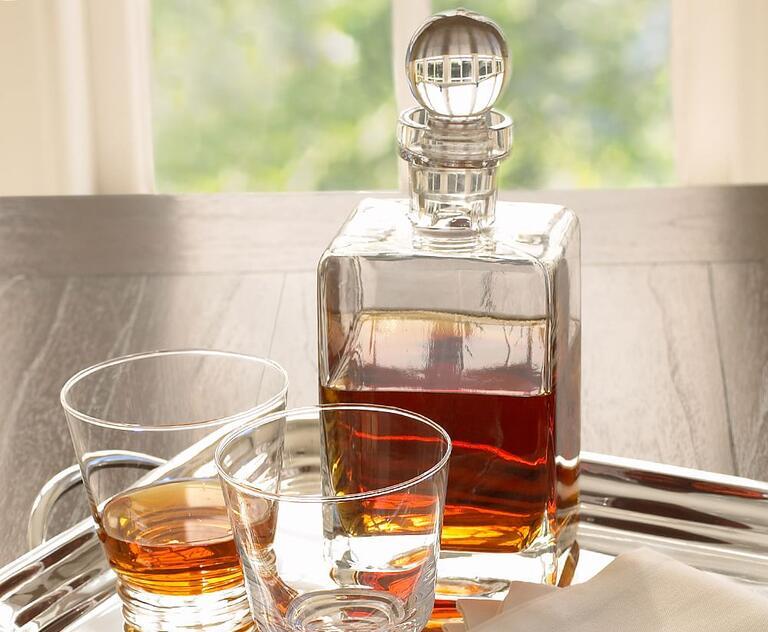 Glass whiskey-decanter groom's gift
