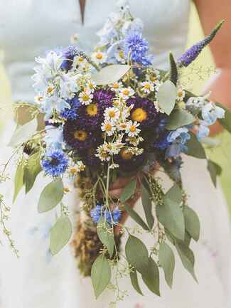 Boho lavender and daisy wildflower wedding  bouquet
