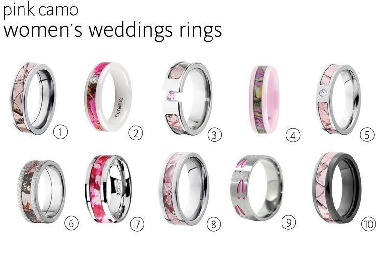 10 Pink Camo Wedding Rings