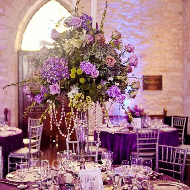 Tall Purple Floral Centerpieces : Tall purple candelabra centerpieces