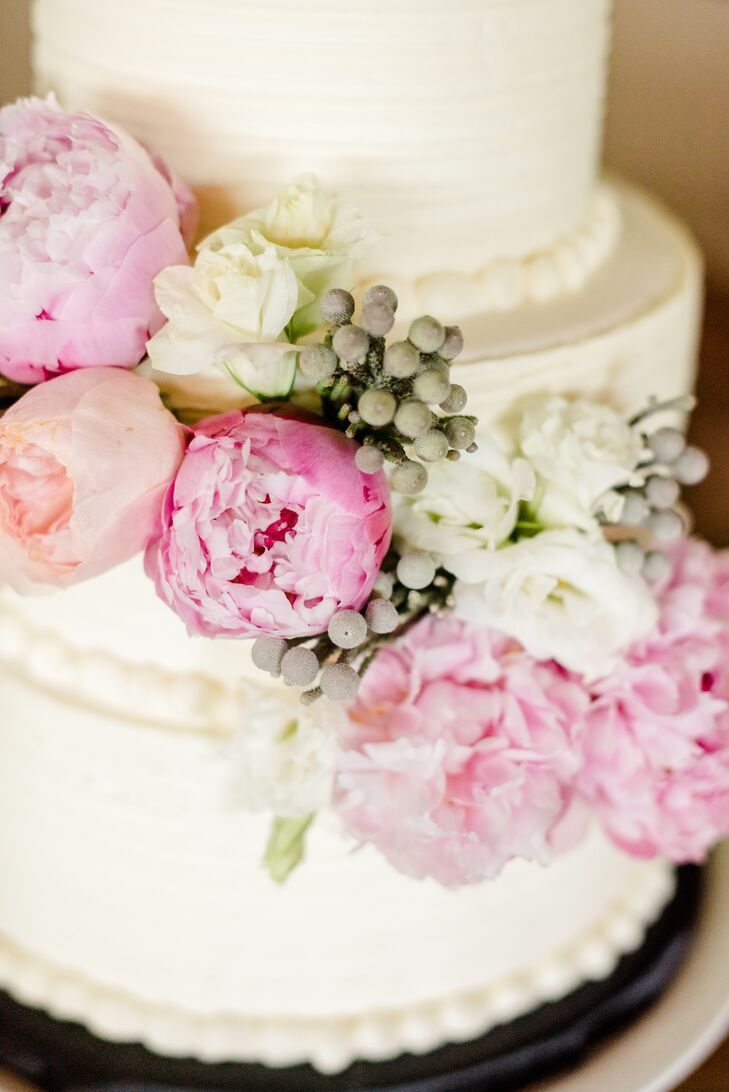 Buttercream Wedding Cake With Cascading Peonies