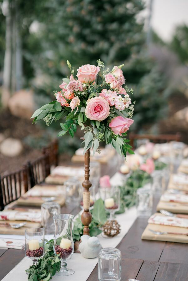 Pink wedding centerpieces tall pink rose and stock centerpiece on wood pedestal mightylinksfo