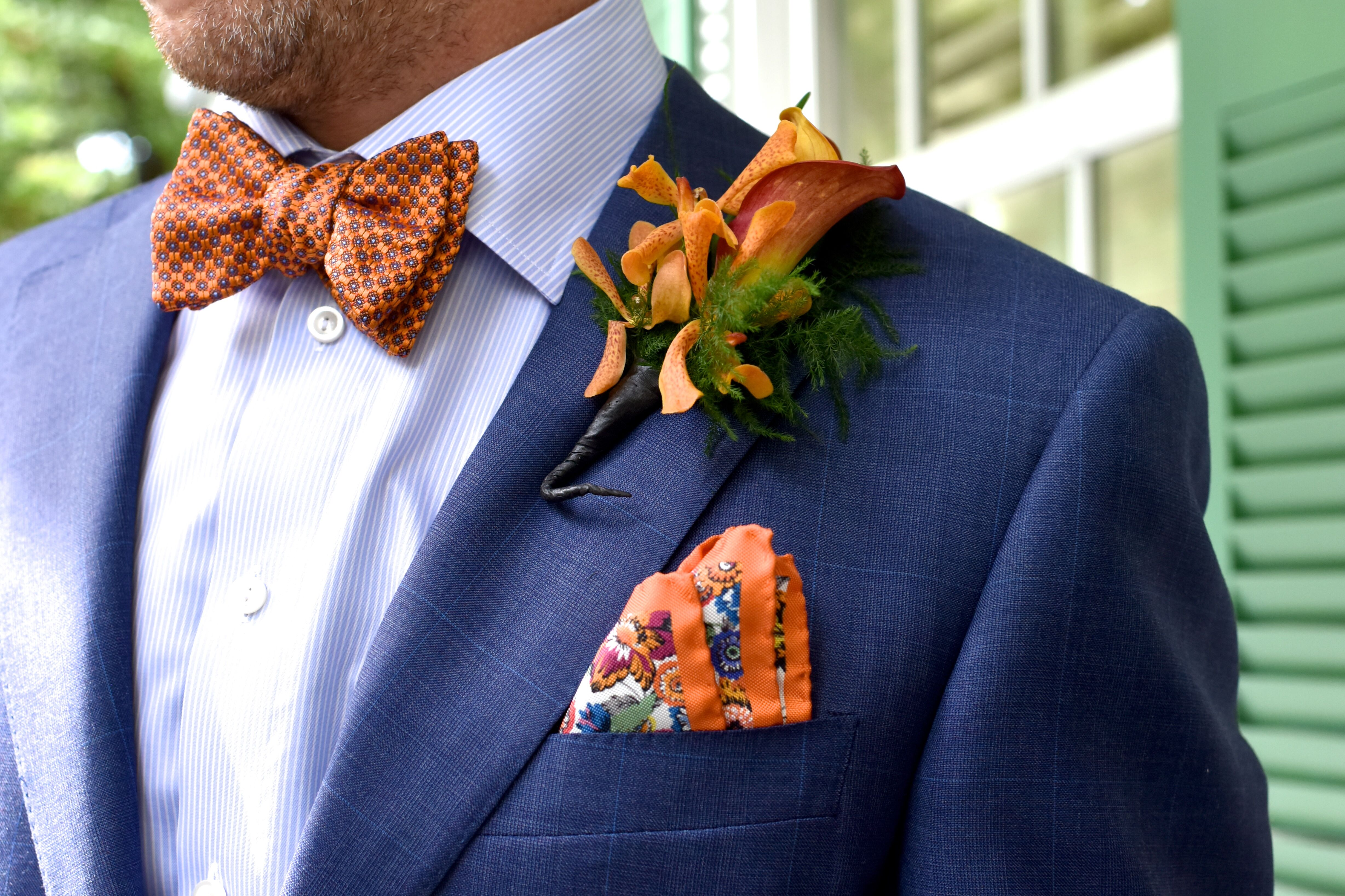 Royal Blue Groom Suit With Orange Accents