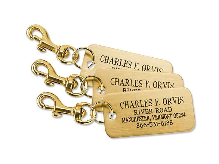 Orvis engraved brass luggage tags groomsmen gift
