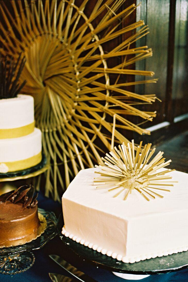 One-Tier Art Deco Wedding Cake