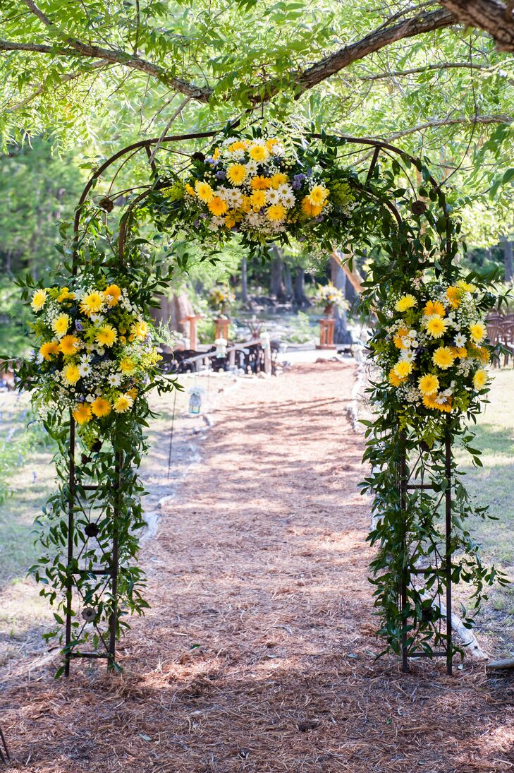 Yellow Green White Wildflower Wedding Arch