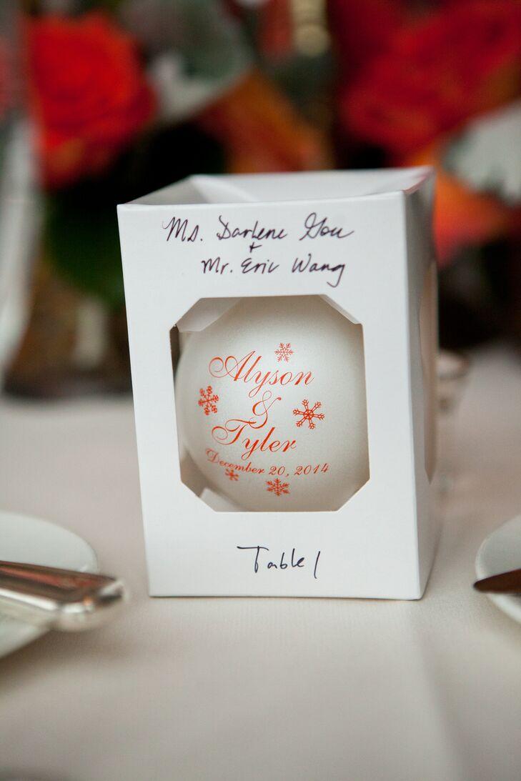 Custom White Glass Ball Ornament Wedding Favor