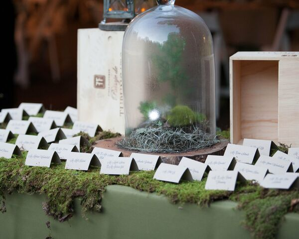 Moss Covered Escort Card Table