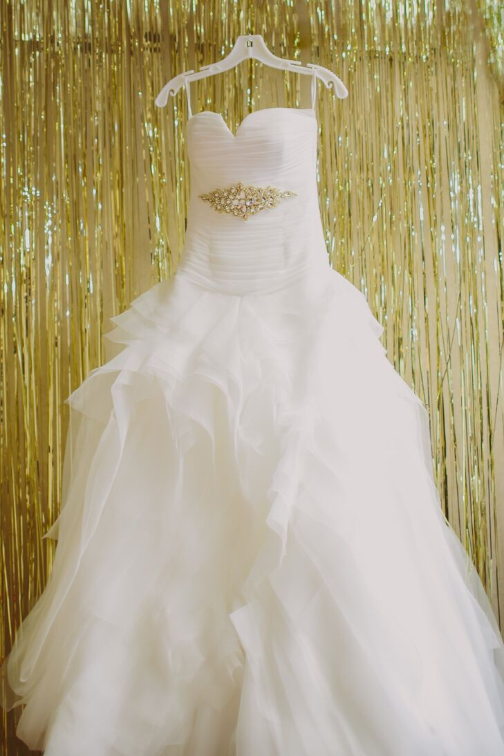 Strapless Princess Ballgown Wedding Dress with Tulle Skirt and Gold Belt