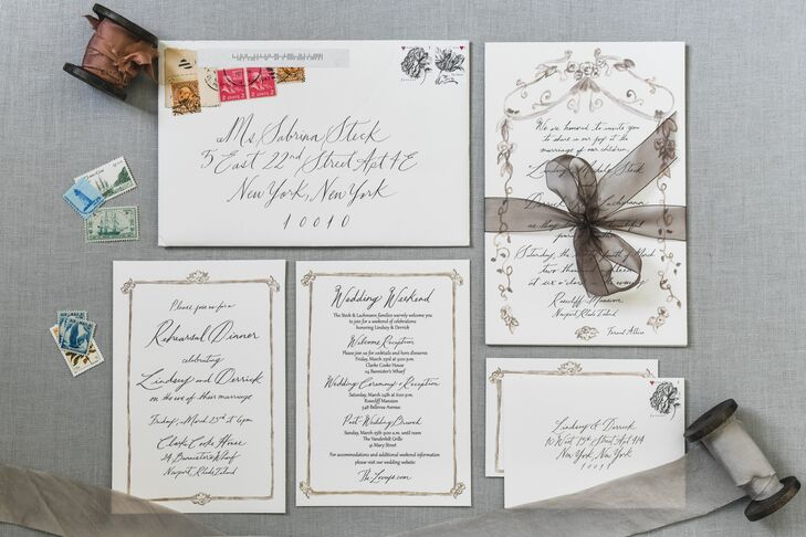Vintage-Inspired, Hand-Lettered Invitations with Decorative Border
