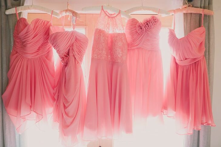 Short, Mismatched Coral-Pink Bridesmaid Dresses from Etsy