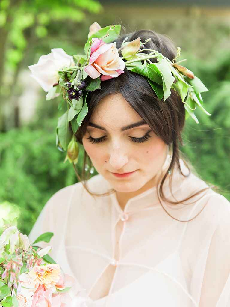 Boho bridesmaid hair with a flower crown
