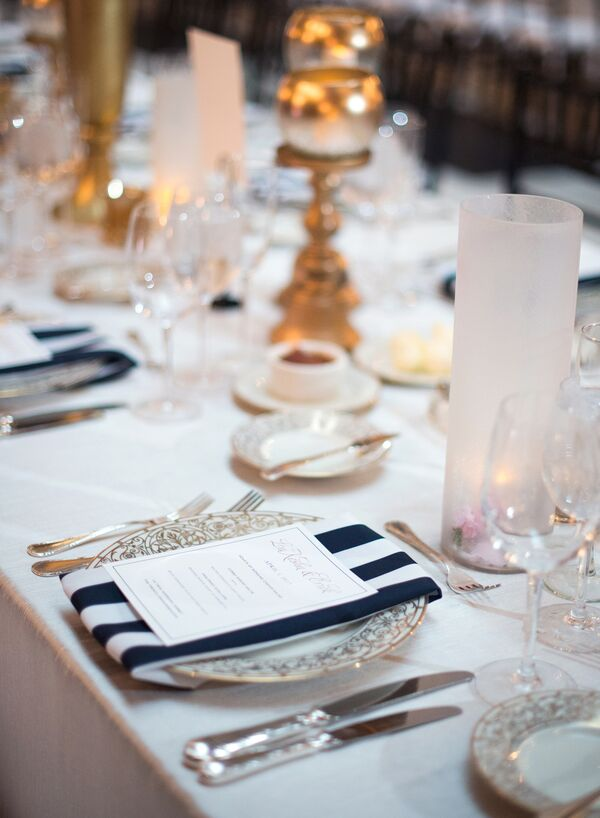 Glamorous Place Setting with Black-and-White Stripe Napkin