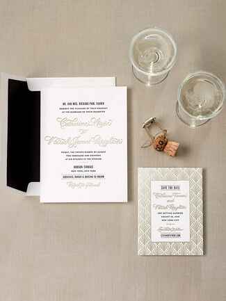 Bella Figura gold foil art deco wedding invitation suite