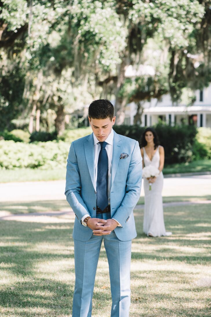 Light Blue Custom Groom\'s Suit