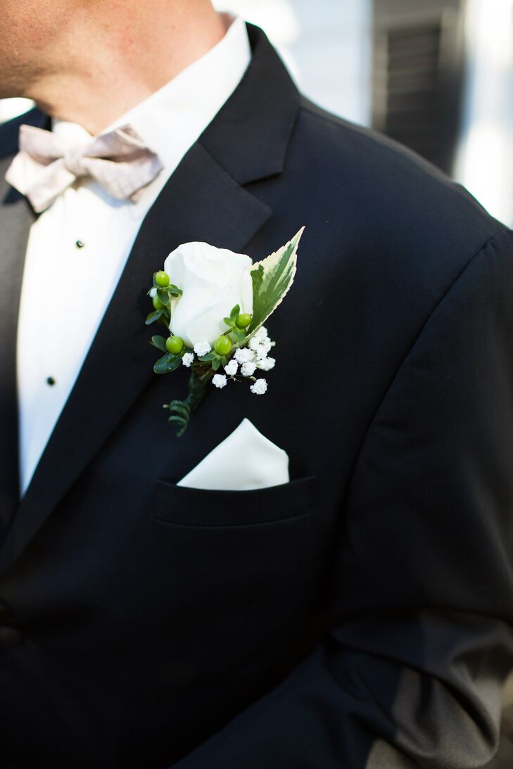 White Rose, Green Hypericum, White Baby's Breath Boutonniere