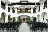 Edgy geometric accents lent Elizabeth Anderson and Adam Rennie's elegant, old-world-inspired wedding at the Ebell Club Long Beach a major punch of per