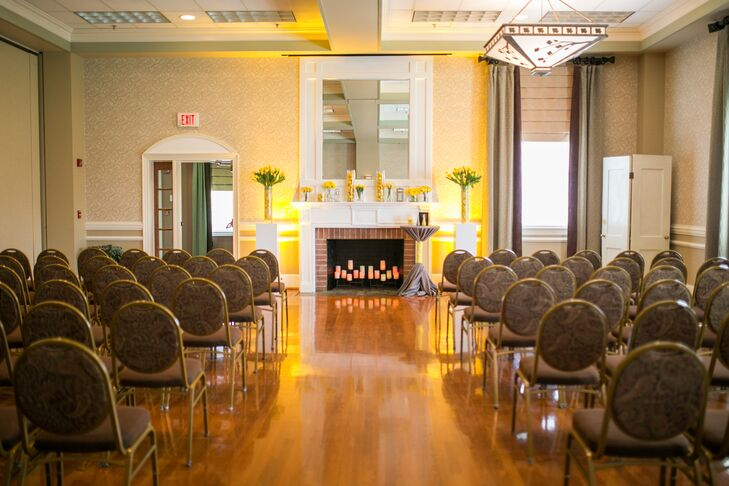 The ceremony took place in an intimate hall with a cozy fireplace at the Vinton War Memorial in Vinton, Virginia.