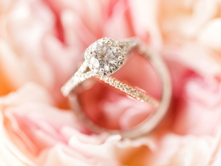 cushion cut engagement ring with diamond halo and diamond wedding band - Picture Of Wedding Rings