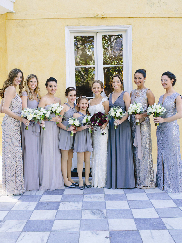 These mismatched bridesmaid dresses are the hottest trend mixed gray and silver mismatched bridesmaid dresses ombrellifo Gallery