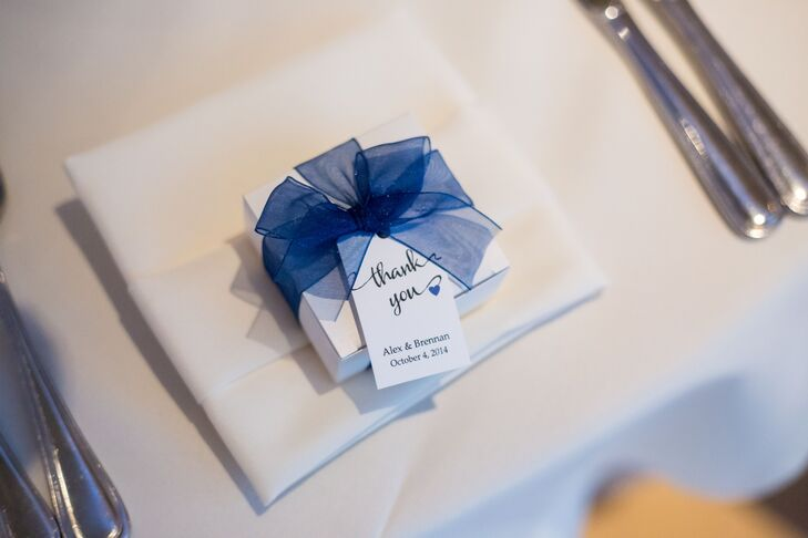 Blue Ribbon-Tied Favor Boxes