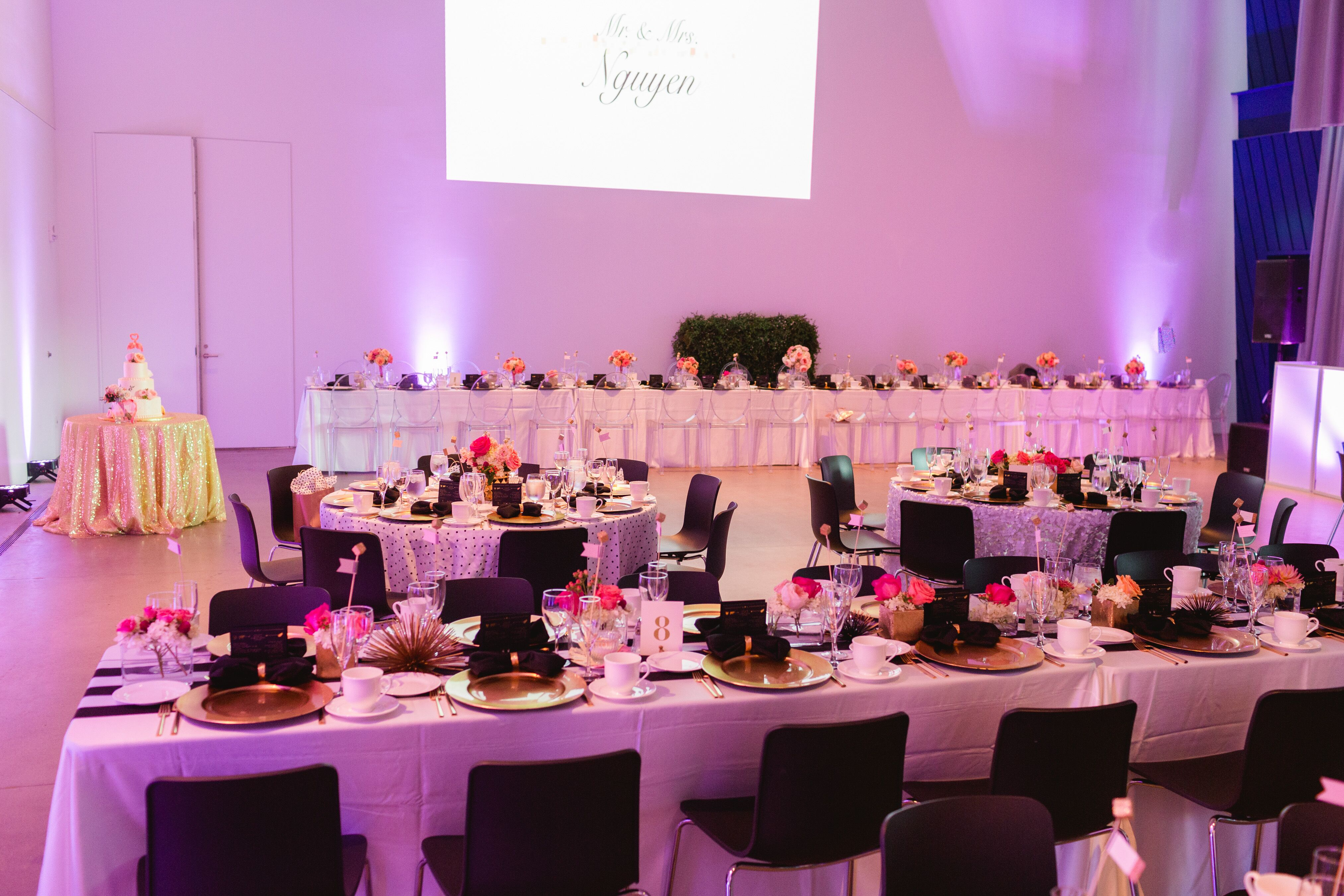 Long Reception Table Decor and Dinnerware