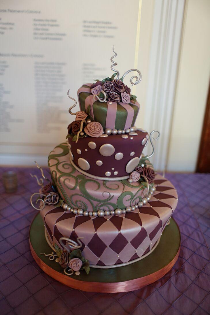 Green and Purple Wedding Cake