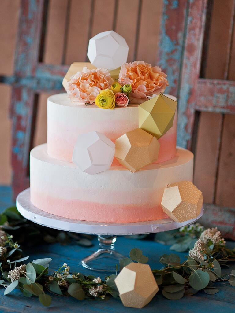 Ombré wedding cake with geometric designs