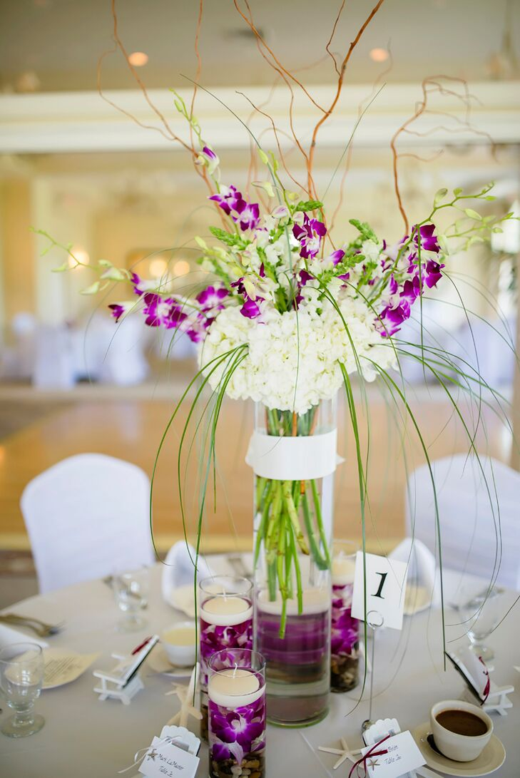 White hydrangea purple orchid centerpieces
