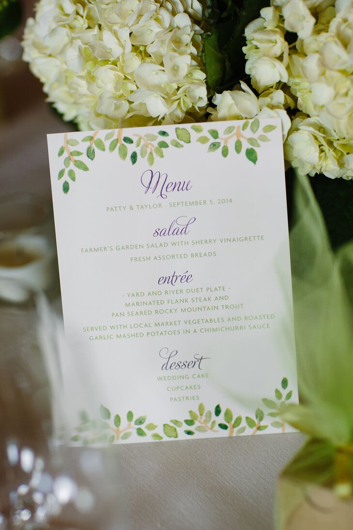 The menu cards were decorated with green watercolor leafs; purple writing added a pop of color. Patty and Taylor loved how all the paper goods had the same design motif.