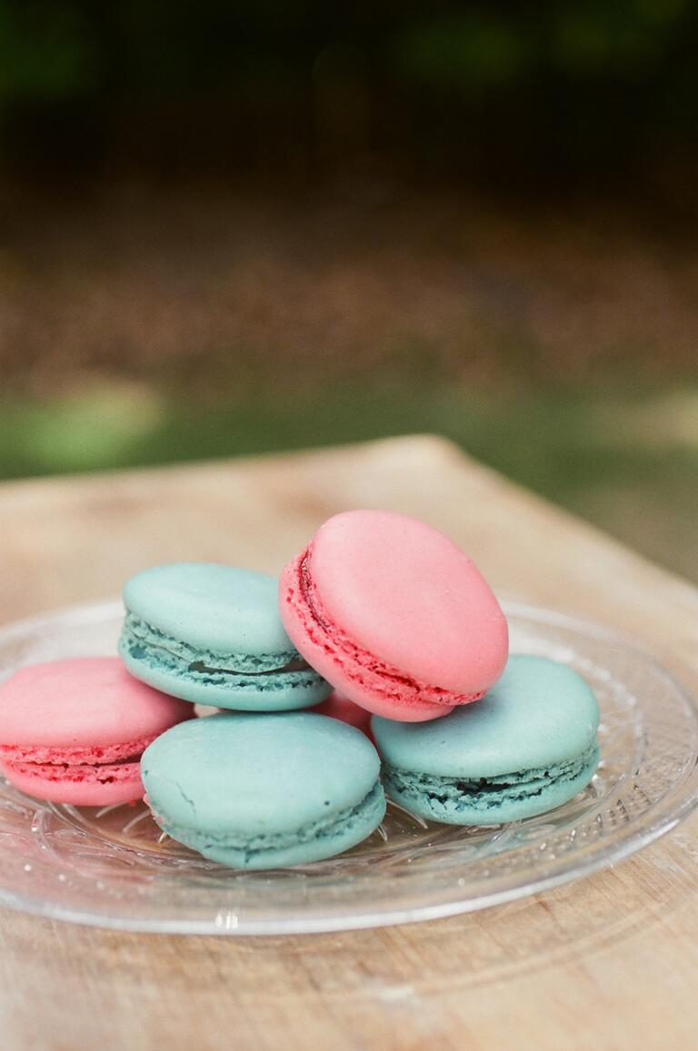 Coral and turquoise macarons