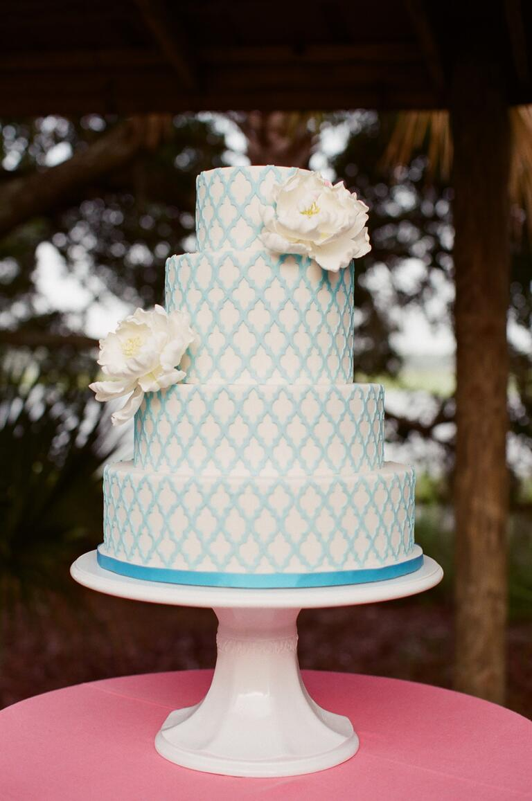 White cake with turquoise design
