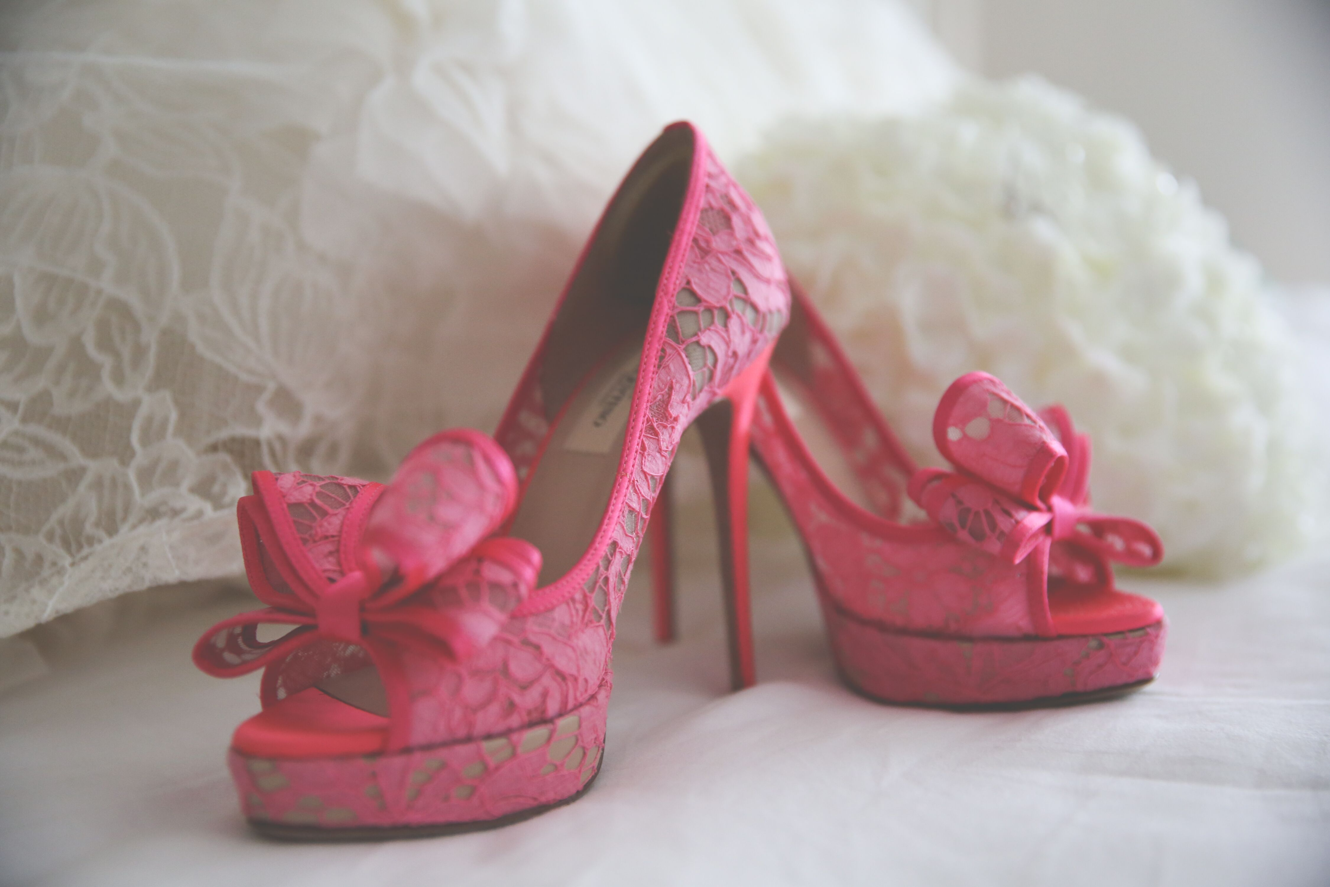 Valentino Pink Lace Wedding Shoes With Bows
